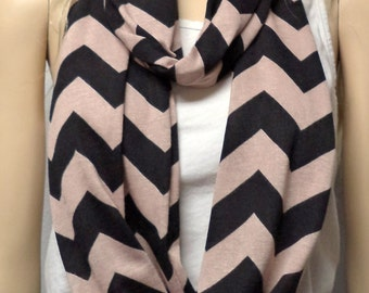 TAN  & Black  Chevron Print  Infinity Scarf  SUPER Soft  Jersey Knit