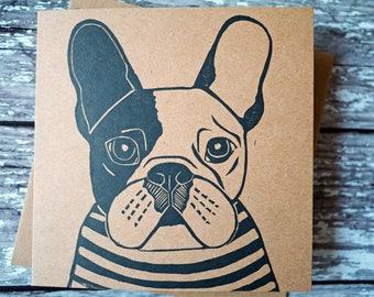 French Bulldog Card Hand Printed Lino Print Greeting Card Frenchie Gift Dog Gift /// Frenchie