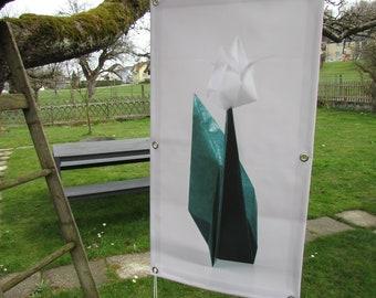 Outdoor art print origami-tulip on Blachenstoff
