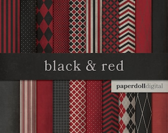 Black and Red Digital Paper - Chevron Paper - Distressed Digital Paper - Harlequin Pattern - Quatrefoil Instant Download - 20 Sheets