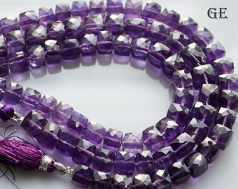 AAAA+ Quatity Amethyst Box Beads, Amethyst Cubes , Amethyst faceted cubes , 7.5 - 8.5 mm Beads, 8 Inch Strand