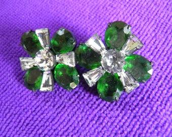 Beautiful Apple Green Rhinestone Clip Earrings