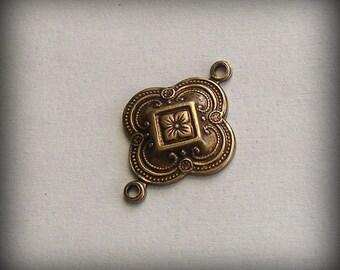 Oxidized Brass 2 Ring Drop Connector Floral Medallion (2 pcs) 22mm I74X-VJS F-A8463-2