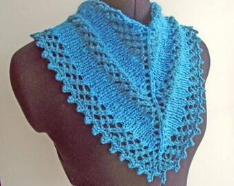 Turquoise Blue Cowl, Kerchief Cowl, Blue Neck Warmer, Blue Infinity Scarf, Turquoise Handspun Lacy Neckwarmer, Knit Merino Neckwarmer