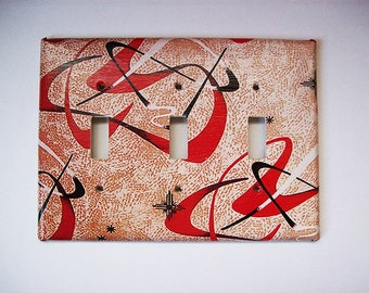 Atomic era triple switch plate cover mid century 1950's abstract light switch