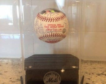 1986 New York Mets Team Signed 1986 World Series Autographed Baseball With Floating Display Case