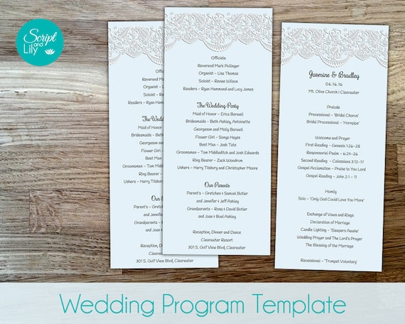 lace wedding program template double sided free color. Black Bedroom Furniture Sets. Home Design Ideas