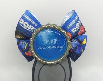 Just Keep Swimming Nemo Dory Magic Band Bow