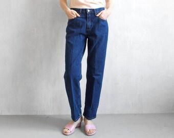 High waisted jeans / high waist denim pants / dark blue jeans / 80s jeans / levis jeans / 80s high waist jeans / high rise jeans / mom jeans