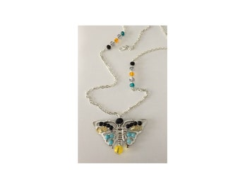 Natural Onyx, Citrine, and Aquamarine Pendant Necklace