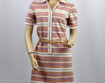Vintage 1970's Stripy Shift Midi  Summer Day Dress