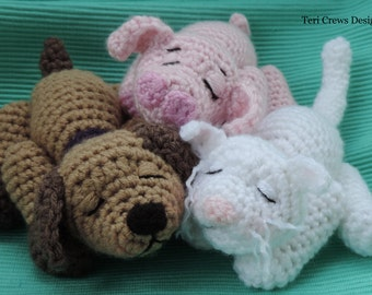 Crochet Pattern Sleepy Pets Pig Dog and Cat PDF Instant Download Teri Crews