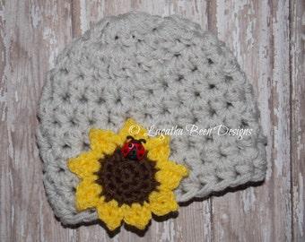 Crochet baby sunflower hat - made to order
