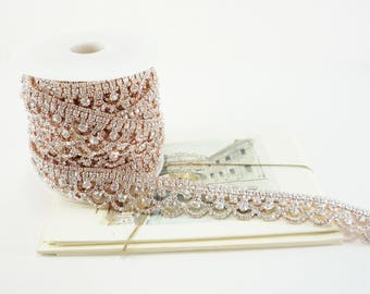 25mm Rose Gold Rhinestone Scallop Trim in Clear Crystal for Wedding Decor, Jewelry Chains, Accessories, Costume 1 Feet Qty