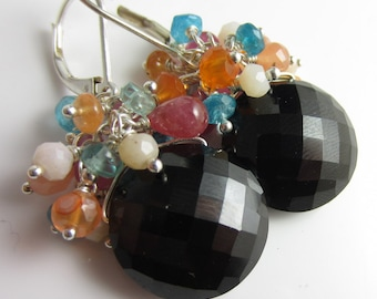 Candy Confetti Earrings - Sapphire, Apatite, Fire Opal and Peach Quartz on top of Black Spinel