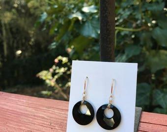 Swarovski Black Crystal Earrings, Black Swarovski Pendant Earrings, Wire Wrap Earrings, Gold Wire Wrap Earrings, Black Earrings, Black Gold