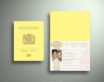 HAYLEY UK Passport Boarding Pass Destination Wedding Invitation Suite, Custom Booklet Invite Airline Plane Ticket World Map Post card Travel