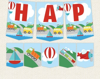 Transportation Bunting, Transportation Banner, Transportation Birthday party, printable bunting, bunting, Instant Download, transport party