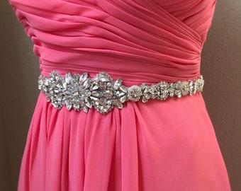 Custom Crystal Rhinestone Bridal Belt with Clasp- All the Way Around Bridal Belt with pearl- Rhinestone Belt- Wedding Accessories- EYM B087F