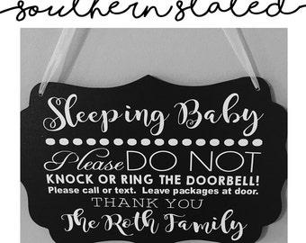 Sleeping Baby Door Sign