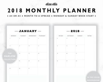 2018 MONTHLY PLANNER / A4 Calendar / 2018 Planner / Planner Inserts / Printable Planner / Calendar / The Harlow Planners in Moonshine / 414