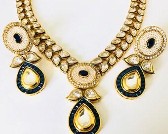 Blue kundan set etsy rajwara kundan polki blue enameled wedding jewellery set aloadofball Choice Image