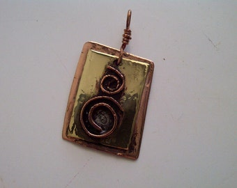 Copper and  Brass 2 Spiral Pendant, hand made