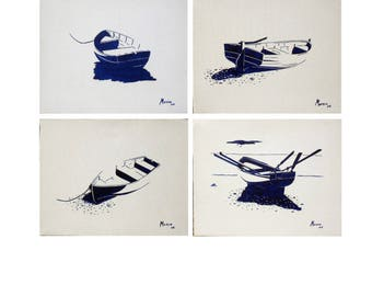"""Set of 4 paintings oil - """"4 boats""""-"""