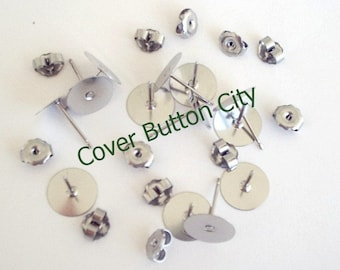 48 Stainless Steel 10mm Earring Posts and Backs - 10.4mm Long