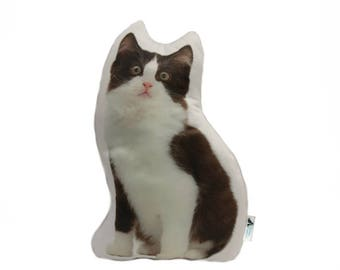Black and White Kitten Shaped Cat Cushion, Customize With Name/Lettering, Handmade By Creature Comforts Direct, Cat Pillow, Animal Cushion