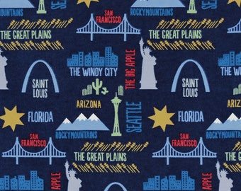 Fabric by the 1/2 Yard - Travel Destinations Flannel