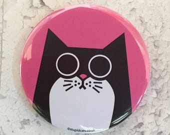 Pocket Mirror, small pink handbag mirror with black and white cat design