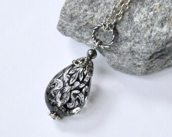 Black Lace Teardrop Necklace, Black Lucite Pendant Necklace, Antique Silver, Gothic Necklace, Victorian Style, Bohemian Jewelry Customizable
