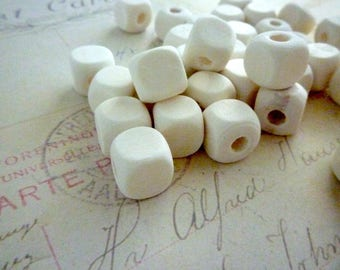 Square Wooden Beads - Natural - 10mm - Pack of 20