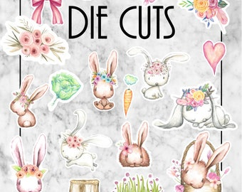 W76 Hunny Bunny Die Cuts, Ephemera, Card Stock, TN Sets, Travellers Notebook, Easter Bunny, Easter Journalling, Bunny, Spring, Floral