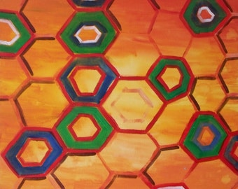 Honeycomb abstract acrylic painting