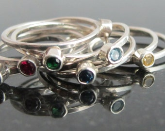 Natural Birthstone Sterling Silver Stacking Trinket Ring