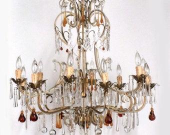 Italian Crystal Chandelier, Vintage Crystal Chandelier