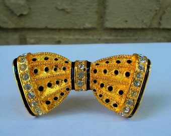 Gold Tow Bow Tie Brooch With Rhinestone Banding - Enamel And Gold Bow Tie Pin - Prissys Newberry Antiques