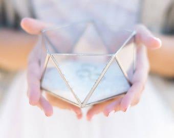 Wedding Ring Box, Glass Ring Box, Wedding Ring Holder, Geometric Ring Box, Clear Glass Box, Weding Ring Dish, Glass Jewelry Box