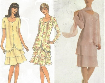 90s Julian Wilder Womens Two Piece Dress and Scarf Dropped Waist Simplicity Sewing Pattern 8611 Size 12 14 16 Bust 34 36 38 UnCut