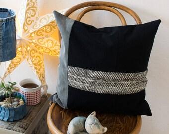 Black denim decorative cushion, geometrical pillow case, recycled black denim cushion, recycled black jeans cushion , decorative pillow.