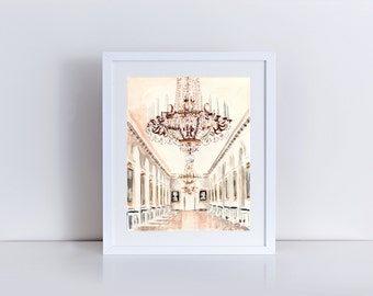 Chandelier at Petit Trianon Versailles -  Print of Watercolor Painting - Paris Travel Photography Palace Architecture Ornate France