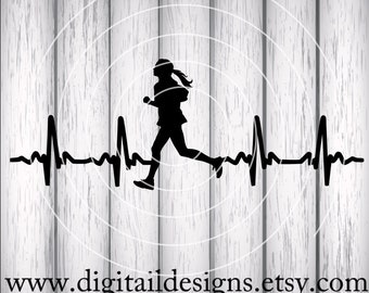 Runner EKG SVG - png - fcm - eps - dxf - ai Cut File - Silhouette - Cricut- Scan N Cut - Running Girl Heartbeat - Cross Country - Runner svg