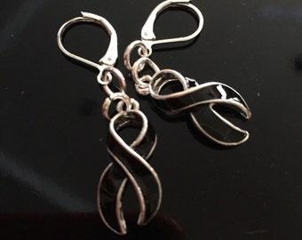 Black Ribbon Earrings - Melanoma / Skin Cancer Survivor / Awareness - Silver Plated