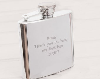 6oz Engraved Hip Flask - Personalised Father's Day, Wedding, Groomsmen, Birthday, Anniversary Gift