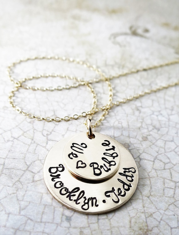 We Love Bubbie - Custom Stacked Disc Necklace - Gold Fill Discs - Script Font - Gift for Grandma - Jewish Grandmother - Custom Names