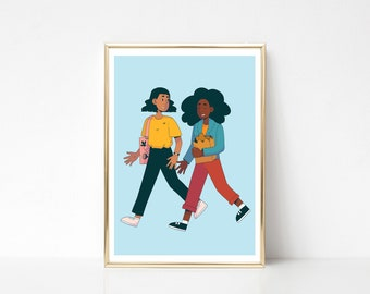 Walk Together - A4 OR A5 - digital print - best friends - shopping - blue - tote bag
