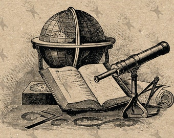 Vintage Image Antique Topography Globe Book Telescope Instant Download picture Digital printable graphic  decor stickers burlap  HQ 300dpi