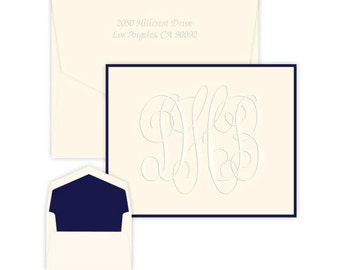 Set of 50 Grand Monogram Bordered Folded Note Cards with Matching Envelopes